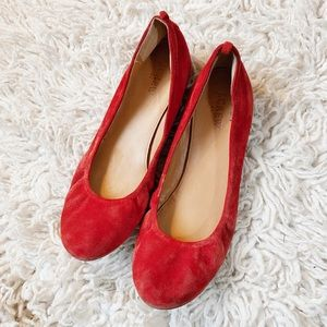 J.CREW VALENTINES SUEDE RED FLATS 8